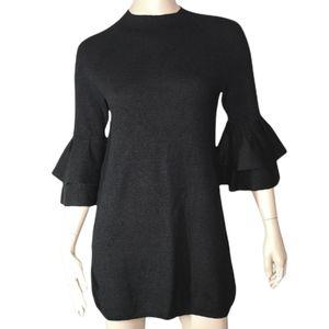 Anthropologie Sweater Dress Ruffle Sleeve Little Black Dress